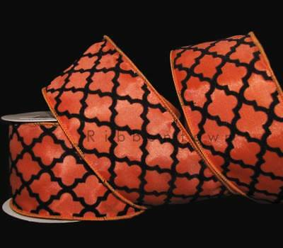 10 Yards Halloween Orange Black Quatrefoil Design Art Deco Lattice Wired Ribbon  - Halloween 10