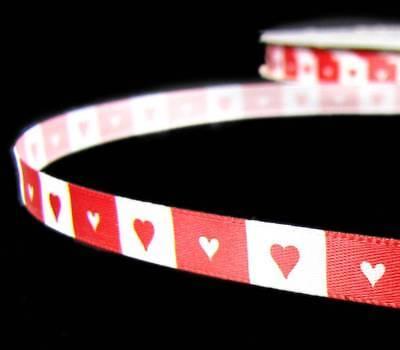 SALE !!! - 10 Yards Valentine Red White Blocked Hearts Satin Ribbon 3/8