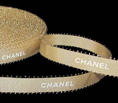 100% Authentic Chanel Gold White Lettering Picot Feather Edge Ribbon 1/2