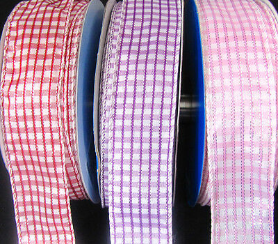 5 Yards Gingham Plaid Wired Ribbon 1 1/2