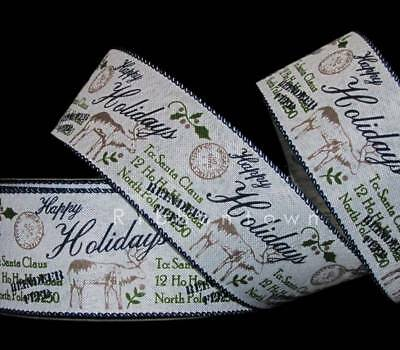 5 Yards Christmas Happy Holidays Mail Letter Reindeer Ivory Blue Wired Ribbon 2  - Ribbon Letters