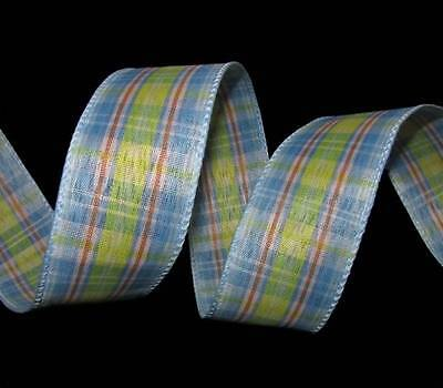 5 Yards Pastel Easter Baby Blue Yellow Plaid Wired Ribbon 1 1/2