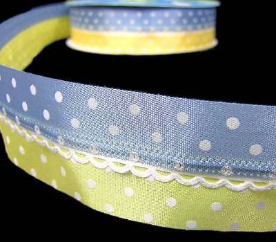 5 Yards Pastel Baby Blue Yellow Polka Dot Scalloped Center Wired Ribbon 1 - Baby Blue Dot