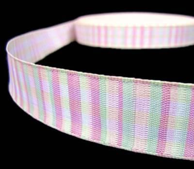 5 Yards SALE Pastel Pink Mint Green Plaid Like Stripe Ribbon 1
