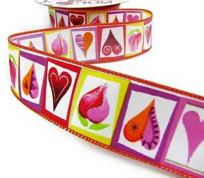 5 Yards Valentine Colorful Artistic Hearts Flowers Wired Ribbon 1 1/2