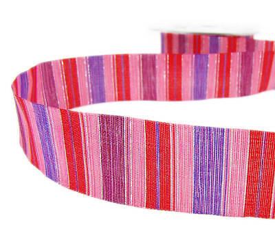 5 Yards SALE! Valentine Pink Red Purple Shiny Silver Striped Ribbon 1