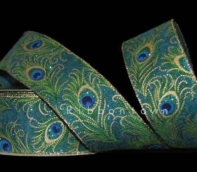 5 Yards Peacock Feathers Blue Green Gold Glitter Accented Wired Ribbon 2 1/2
