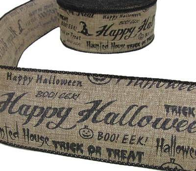 5 Yds Happy Halloween Trick or Treat Boo Jute Burlap Like Wired Ribbon 2 1/2