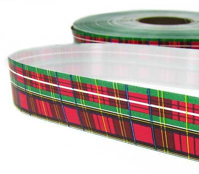 10 Yds Christmas Red Green Plaid Acetate Ribbon 1 1/4