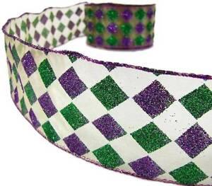 2 Yds Mardi Gras Green Purple Jester Diamond Glitter Sheer Wired Ribbon 2 1/2