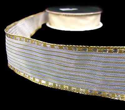 5 Yards SALE Solid Metallic Gold Sheer Center Stripe Wired Ribbon 1 1/2