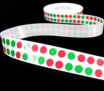 10 Yards Christmas Red Green Double Polka Dot Acetate Ribbon 3/4