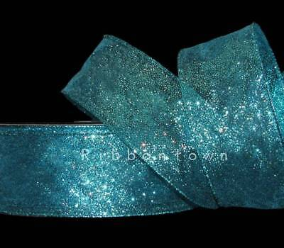 Teal Ribbons (5 Yards Mermaid Blue Green Peacock Color Glitter Sheer Wired Ribbon 2)