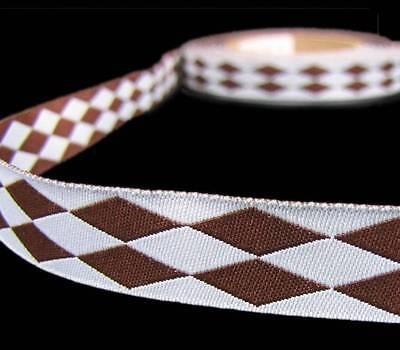5 Yds Blue Brown Diamond Jester Reversible Woven Jacquard Dog Collar Trim Ribbon