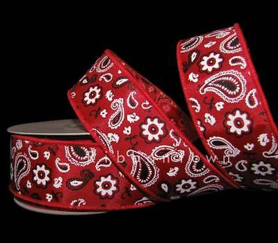 10 Yards Red White Bandana Paisley Print Country Western Cowboy Wired Ribbon 1 1 (Cowboy Red Bandana)