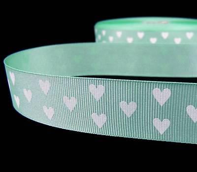 5 Yards Valentine Mint Green White Hearts Grosgrain Ribbon 7/8