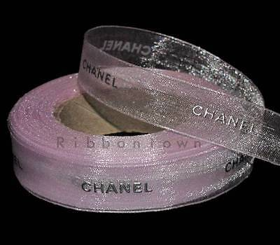 100% Authentic 2 Yards Chanel Silver Lettering Pink Sheer Gift Ribbon 5/8