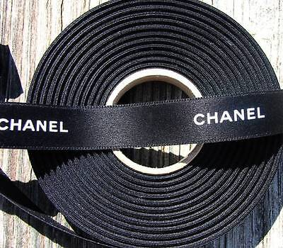 "100% Authentic Chanel Black White Lettering Ribbon 9/16"" wid"