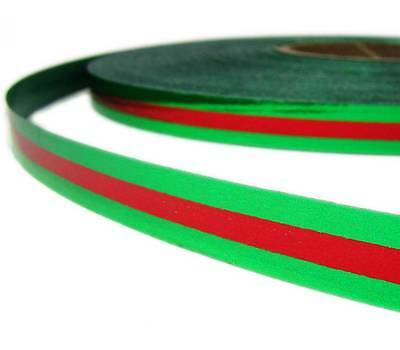 10 Yards Christmas Green Red Center Striped Acetate Ribbon 1/2
