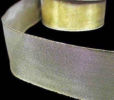 Gold Metallic Mesh Ribbon (5 Yards Solid Metallic Gold Sheer Mesh Wired Ribbon 2)