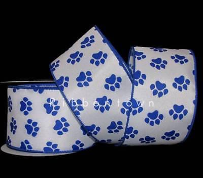 10 Yards Pawprint Paw Print Dog Blue Wildcat Wired Ribbon 2 1/2