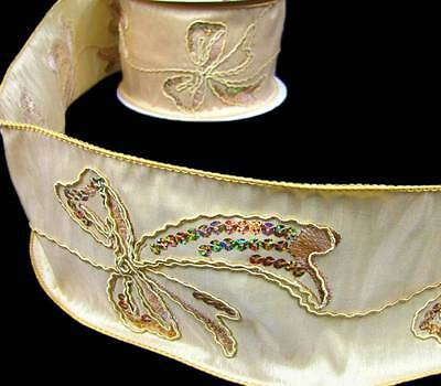 Luxury Sequins Bow Trimmed Gold Elegant Wide Wired Ribbon 3 7/8