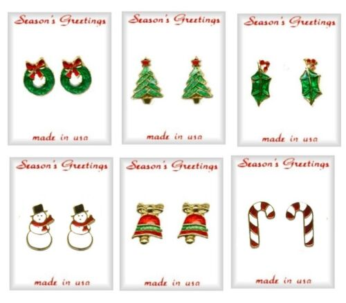 Christmas Vintage Pierced Earrings Lot of 6 Styles; Gold Plate, Great Gifts, NEW