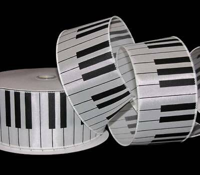 Wired Music (5 Yards Musical Piano Keys Music Musician Wired Ribbon 2 1/2