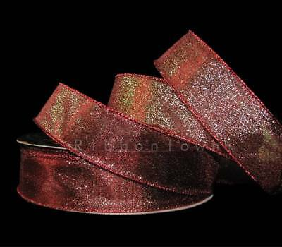(5 Yards Christmas Red Green Two Tone Metallic Mirage Wired Ribbon 1 1/2
