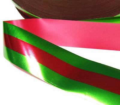 10 Yards Christmas Green Red Center Stripe Acetate Ribbon 1 3/4