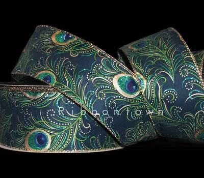 5 Yards Peacock Feathers Deep Blue Green Gold Glitter Accented Wired Ribbon 2 1/