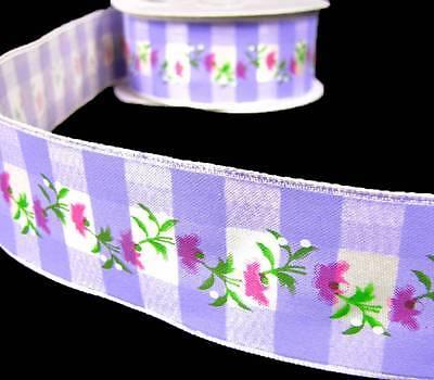 5 Yards Spring Pink Vine Flowers Lavender Purple Plaid Wired Ribbon 1 1/2