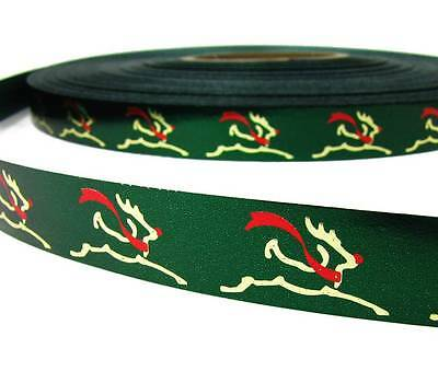 "10 Yards Christmas Green Red Center Stripe Acetate Ribbon 1 3//4/""W"
