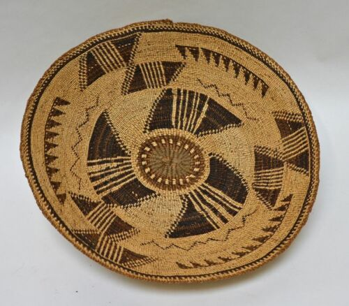 """Klamath Twined Basketry tray woven with brown tule c. 1880. 4"""" x 18"""""""
