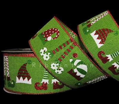 10 Yards Christmas Elf Hat Shoes Elves Red Green White Whimsical Wired Ribbon 2