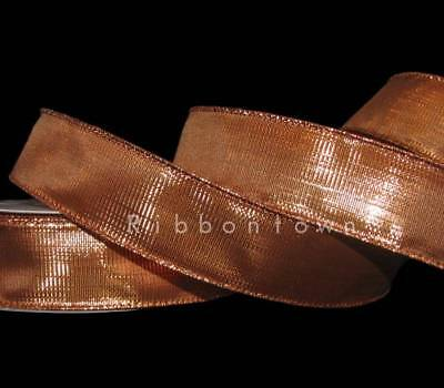 (5 Yards SALE Shiny Copper Metallic Wired Ribbon 1 1/2