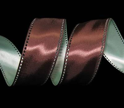 Chocolate Brown Satin Ribbon - 5 Yds Chocolate Brown Aqua Blue Teal Open Stitch Double Faced Satin Wired Ribbon