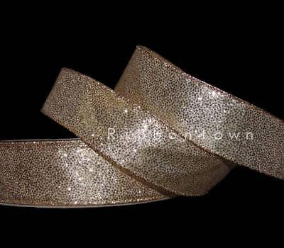 5 Yards Christmas Gold Nugget Glitter Sparkly Wired Ribbon 1 1/2