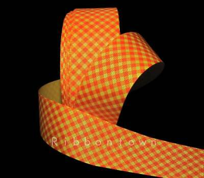 5 Yards Orange Yellow Lattice Diagonal Gingham Grosgrain Ribbon 1 1/2