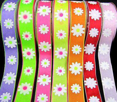 5 Yards Daisy Daisies Dayzee Neon Flower Ribbon 7/8