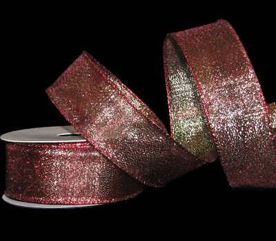 (25 Feet Christmas Light Red Green Mirage Metallic Wired Ribbon 1 1/2
