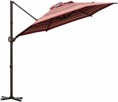 Offset Cantilever Umbrella 9-Feet Outdoor Patio Hanging Umbrella with Cross Base