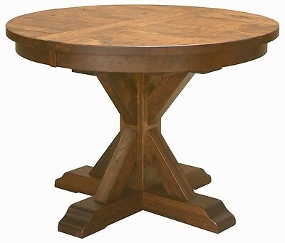 48' Round Plank Top - Amish Rustic Plank Top Dining Table Round Pedestal Solid Wood Furniture 48