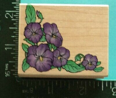 PANSY CORNER Flower Rubber Stamp by Hero Arts ()