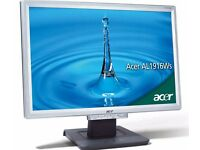 ACER AL1916WAS widescreen lcd display screen VGA great condition with cable leads etc only £42