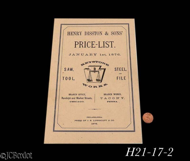 1876 fine shape reprint HENRY DISSTON SAW BOOK CATALOG
