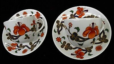 Royal Worcester Grainger Imari  Set Of 2 Cups And Saucers