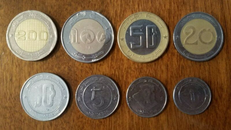 ALGERIA - set of 1, 2, 5, 10, 20, 50, 100, and 200 dinars coins, bi-metallic