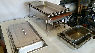 Catering Chafing 7 Piece Set Used Good Condition Wood Grips