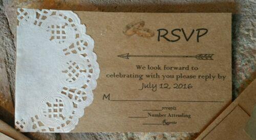 30 rustic handmade wedding invitations/rsvp/envelopes.